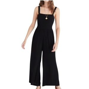 Madewell black smocked crop jumpsuit size 8